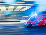 An ambulance races to the scene