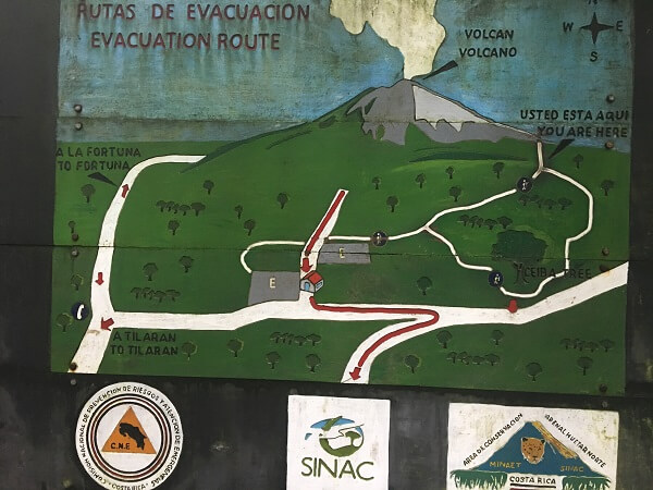 The map of the Arenal National Park
