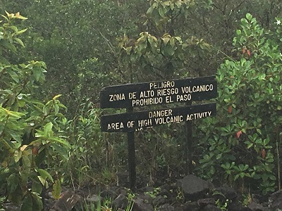 The end of the Arenal's upper trail is marked by volcanic rocks