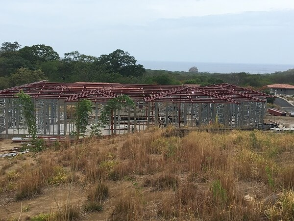 The steel structure for the roof has been completed