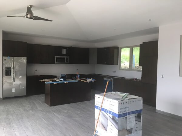 Cabinets and appliances are now installed