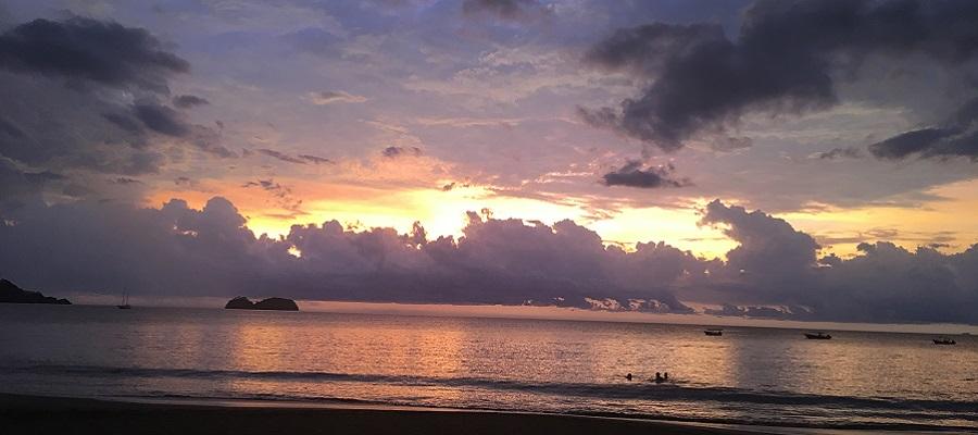 Sun goes down in Playa Hermosa Costa Rica.