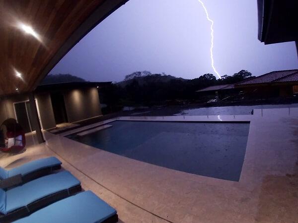 Large lightning bolt hits a few hundred yard away