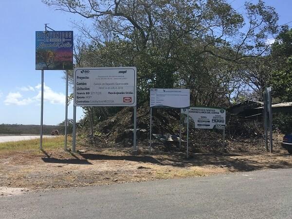 Entrance road off of highway 1 to Llanos de Cortes.