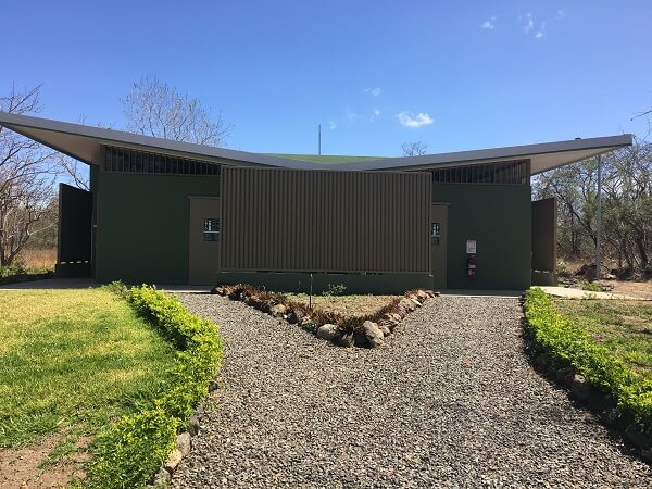 The restrooms, showers are changing rooms at the Llanos de Cortes parking lot.