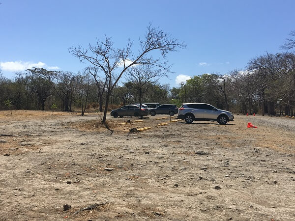 The Llanos de Cortes parking lot on an uncrowded day.