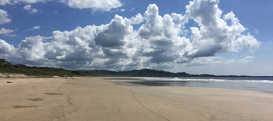 The expansive beach area at Playa Grande.