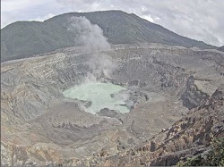 Live view of the Costa Rica's Poas Volcano crater and surrounding area