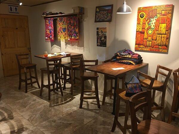 Table area in tasting room.