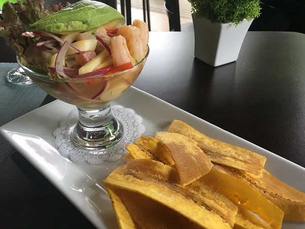 Fresh ceviche made from local ingredients and crispy plantains
